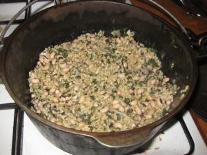 Lubiya and molochiya stew