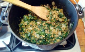 Chicory leaves and lentil hazelnuts