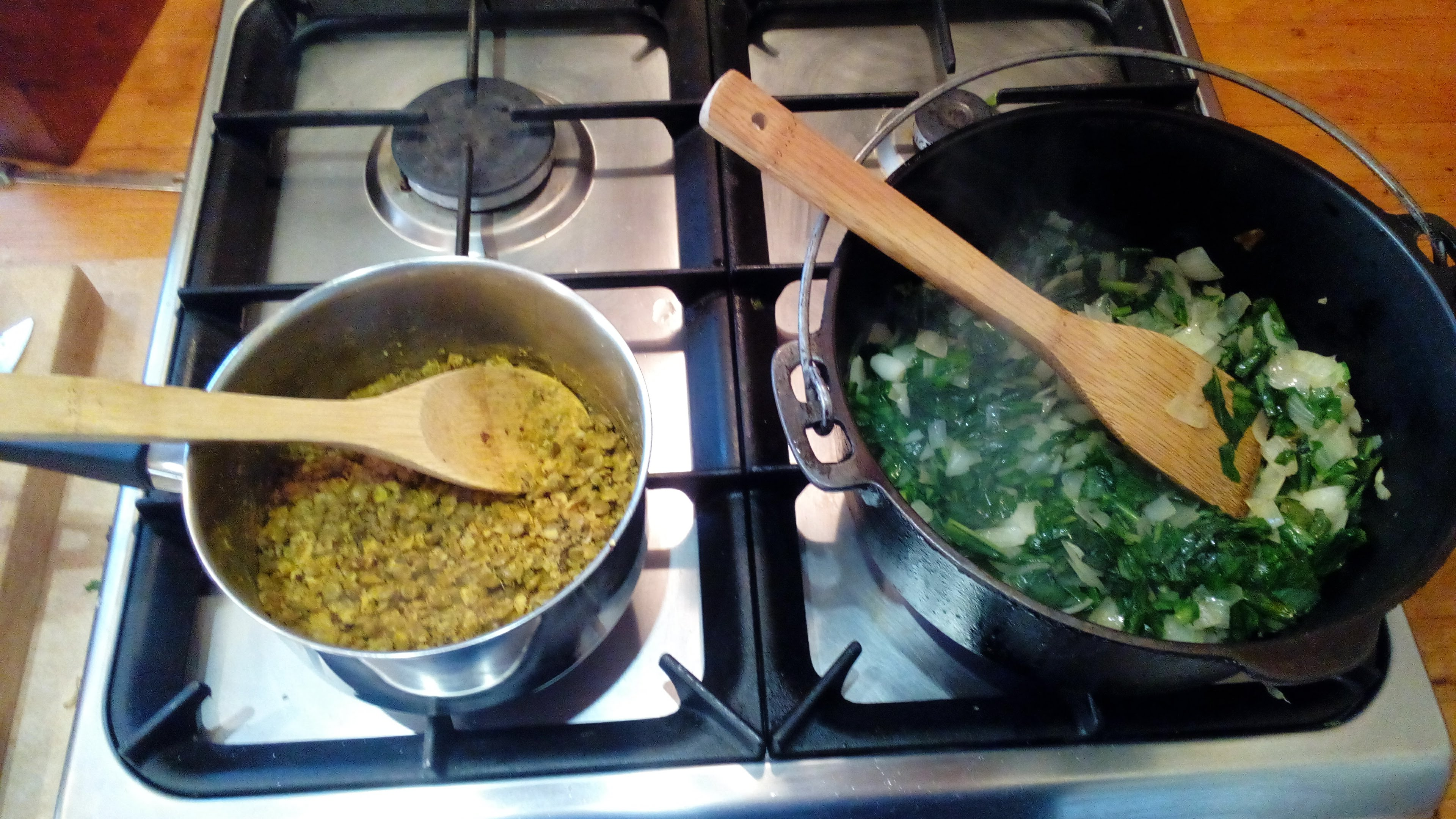 Chicory Leaves with Lentils and Hazelnuts -cooking