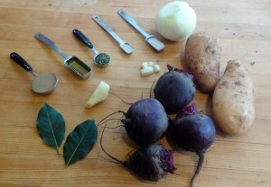 Soup-creamy ginger beet ingredients